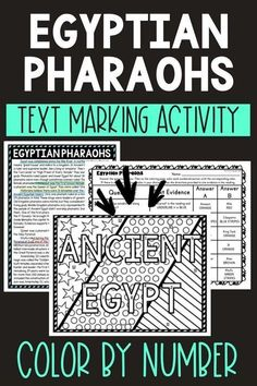 This Egyptian Pharaohs Color by Number and Text Marking activity is the perfect way to bring life to the topic! Students read a non-fiction passage and search for answers while marking evidence from the text. Perfect reading comprehension activity. #EgyptianPharaohs #History #HomeSchool #Digital #4thgrade #5thgrade #6thgrade #Interactive #MiddleSchool #UpperElementary 5th Grade Reading, Middle School Reading, Student Reading, 4th Grade Social Studies, Social Studies Activities, Geography Activities, Science Activities, History Activities, Holiday Activities