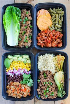 Ground Turkey Meal Prep Bowls: 4 Ways - Smile Sandwich Easy Ground Turkey Meal Prep Bowls: 4 Ways - healthy meal prep recipes for on-the-go lunches!Easy Ground Turkey Meal Prep Bowls: 4 Ways - healthy meal prep recipes for on-the-go lunches! Lunch Meal Prep, Meal Prep Bowls, Easy Meal Prep, Healthy Meal Prep, Lunch Recipes, Healthy Dinner Recipes, Healthy Snacks, Easy Recipes, Beef Recipes