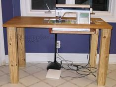 Make a sewing machine table out of an old kitchen table. Making sewing furniture is easy. There are other links to sewing MAKE projects too. Sewing Room Design, Sewing Room Storage, Sewing Room Organization, Sewing Rooms, Diy Sewing Table, Sewing Machine Tables, Diy Table, Wood Table, Craft Room Tables