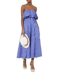 Ruffled Strapless Maxi Dress, PATTERN, hi-res