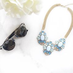 Powder Blue Statement Necklace- $45 #statement #necklace #baubles #brunch #sunnies #jewelry #trendtribe