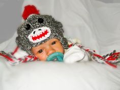 This is my baby sock monkey hat design.