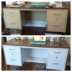 12 Office Desk Redo Ideas for you to renovate your Work space! School Desk Makeover, Metal Desk Makeover, Desk Redo, Office Makeover, Furniture Makeover, Diy Furniture, Furniture Refinishing, Urban Furniture, Office Furniture