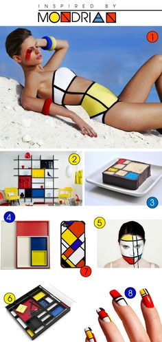 Forget the bathing suit, but take a look at all the products based on Mondrian. Create an entrepreneurial project in which students design a product based on an artist and pitch it (Shark Tank style) to other classes.