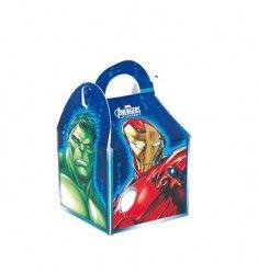 Boîtes anniversaires Avengers permettant de faire un petit cadeau personnalisé, ou mettre des bonbons à offrir aux invités a leur départ.