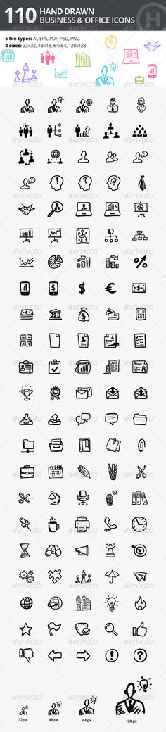 110 Hand-drawn Business and Office Icons by heloholo This set contains 110 fully scalable vector icons in a perfectly organized PSD, AI and other file formats.Whats included: 1 AI fil Visual Thinking, Design Thinking, Web Design, Icon Design, Tattoo Painting, Cv Inspiration, Visual Note Taking, Office Icon, Pattern Texture