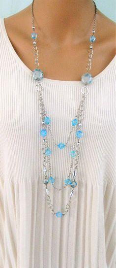 Collar largo azul Multistrand collar Abalorios collares