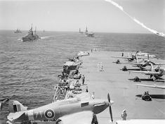 An account of the fight to get the 1942 Pedestal Malta Convoy through, focusing on the contribution of HMS Indomitable, Victorious and Glorious - and the Fleet Air Arm. Ww2 Aircraft, Military Aircraft, British Aircraft Carrier, Royal Navy Aircraft Carriers, Flight Deck, Navy Ships, Time Photo, Submarines, Hawker Hurricane
