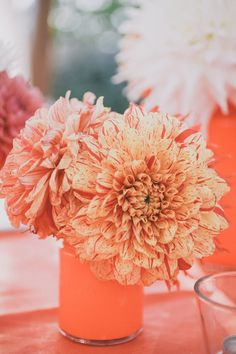 orange dahlias // photo by Edyta Szyszlo // http://ruffledblog.com/orange-coral-sonoma-wedding