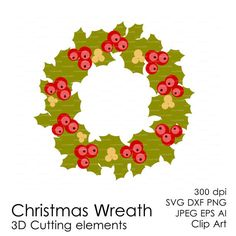 Christmas Wreath 300 dpi svg, dxf, jpg, ai, eps, png Clip Art 3D Cutting elements Xmas Noel Die Cut file for Silhouette Cameo EasyCutPrintPD