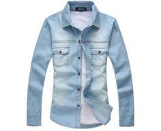2013 dos homens de estilo europeu de manga longa slim Jeans Camisa Moda e popualr frete grátis MCL139-in camisas ocasionais de Vestuário e Acessórios ...