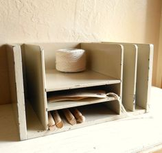 Chippy Painted Vintage Wood Desk Organizer File by VintageNChic, $40.00