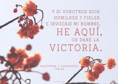 #FrasesdelDía Y si vosotros sois humildes y fieles, e invocáis mi nombre, he aquí, os daré la victoria. (Doctrina y Convenios 104:82) canalmormon.org/blog