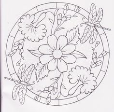 Floral Embroidery Patterns, Embroidery Stitches, Quilt Patterns, Embroidery Designs, Candlewicking Patterns, Coloring Books, Coloring Pages, Stained Glass Flowers, Sewing Art