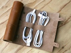 Perfect for traveling, a gorgeously simple way to wrap your USB cords, earbuds, plugs and other tech accessories.