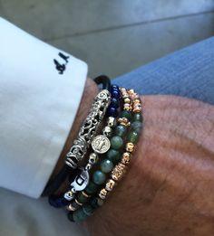 bracciali luxury uomo damasco e my Saint argento e pelle made in Tuscany Italy designed Alessandro Magrino