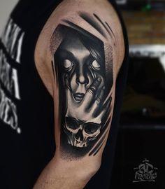 Creepy Black and white face. Men's tattoo
