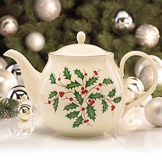 Lenox holiday tea pot- love the idea of holiday tea