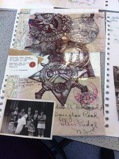 Ellen Platt                                             War medal drawing  layered over collage(A2)