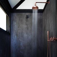 Beabcbafe Bathroom Grey Concrete Bathroom - Interior Design Ideas & Home Decorating Inspiration - moercar Modern House Design, Modern Interior Design, Interior Design Inspiration, Design Ideas, Contemporary Interior, Copper Interior, Coastal Interior, Purple Interior, Interior Rendering