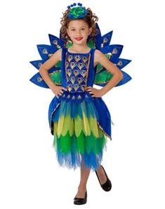 Older Girls 5 Piece Peacock Diva Carnival Fancy Dress Costume Outfit 10-16yrs