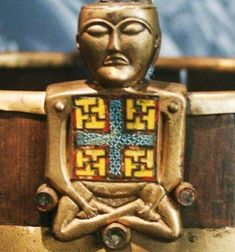 Buddha found in Oseberg Vikingship Grave, Norway. Dated to 834 CE. This Buddha figure is not believed to be imported, but to be a product of the Iron Age culture in Norway. Swastika symbols (of ancient meaning) found on seals in Indus Valley from Ravi River Phase (3500-3300 BC).