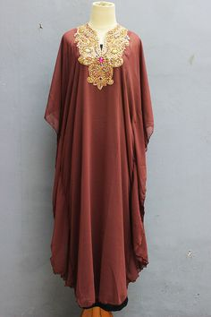 Very Fancy Sheer Chiffon Kaftan Moroccan with Gold Embroidery detailed. ✿ The fabric is made of Polyester Top Quality ✿ The Caftan is sheer chiffon