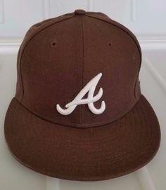MLB ATLANTA BRAVES Fitted 7 1/4 Wool Hat Brown New Era 59FIFTY cap #NewEra #AtlantaBraves