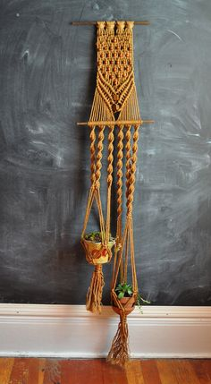 Vintage Macrame Dual Plant Holder 70s Handmade Home decor. $45.00, via Etsy.