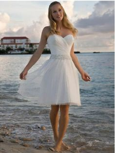 Wholesale Cheap 2014 Hot Sale White Sweetheart Beaded Wasitline Tulle Satin Beach Bridal Gown