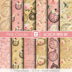 Vintage Digital Paper,  Aceo ATC Digital Collage Sheet, Pink Roses Clocks Scrapbooking - INSTANT DOWNLOAD  - 1808