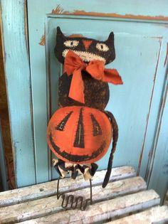 Primitive folk art Pumpkin Black CAt old masher make do doll Fall Halloween…