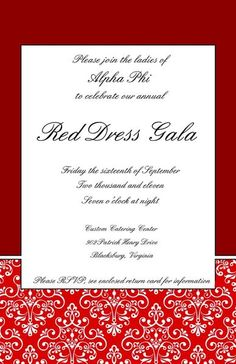 Eta Omicron's Red Dress Gala Invitations
