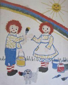 Rainbow Skies Crewel Embroidery Kit Raggedy Ann & Andy #RA1707 Vintage 8 x 10 #BobbsMerrilCoInc