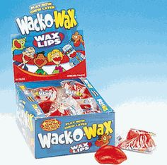 Wax Lips.  My dad used to bring me and my sister these, the teeth, the lips with teeth or harmanica whistle thingy