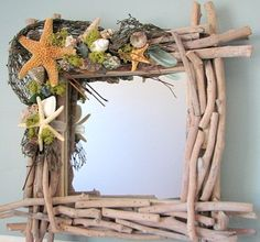 Beach Decor Shell Mirror - Driftwood w Starfish, Moss, Sea Glass, 18""