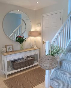 Get inspired by Cottage Country Foyer Design photo by Wayfair Inspirations. Wayfair lets you find the designer products in the photo and get ideas from thousands of other Cottage Country Foyer Design photos. Entrance Hall Decor, House Entrance, Hallway Decorations, Entrance Halls, Entryway Decor, Cottage Hallway, Shabby Chic Hallway, Diy Furniture Table, Plywood Furniture