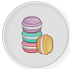 Buy 4 get 1 free ,Buy 6 get 2 free,Cross stitch pattern, PDF,macaroons - Counted Cross Stitch Patterns, Cross Stitch Designs, Cross Stitch Embroidery, Kawaii Cross Stitch, Simple Cross Stitch, Beading Patterns, Embroidery Patterns, Fuse Beads, Brick Stitch