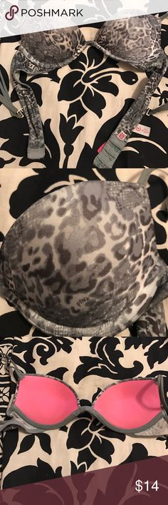 """""""Pink"""" Grey Cheetah Gel Push Up Bra 32A """"Pink"""" Grey Cheetah Gel Push Up Bra 32A. Gently used. Hardware did turn green, still in great usable condition. Has lots of life left to it. Gel padding. Selling because this is way to small for me. PINK Victoria's Secret Intimates & Sleepwear Bras"""