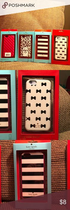 Kate Spade IPhone 6 hardcases Kate Spade IPhone 6 hardshell cases. Pink striped one is free with purchase to first buyer, few cracks but still cute and usable. Will sell individually for $8 or bundle for $25 kate spade Accessories Phone Cases