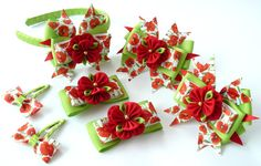 Set of 7 pieces - headband, 2 alligator type hair clips, 2 hair ties, 2 snap clips. You can choose full set or each style separate. Plastic headband is