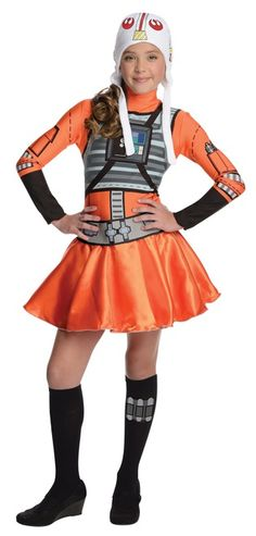Star Wars X-Wing Fighter Tween Costume - Take your turn fighting against the Imperial Army and Darth Vader with this licensed dress version of the classic X-Wing Fighter costume.  It comes with stretchy dress, helmet beanie hat, belt and knee socks. Help the Rebels in the X-Wing Fighter Pilot costume with other Star Wars characters, Halloween or comic con. #YYC #Calgary #costume #StarWars #XWing #XWingPilot