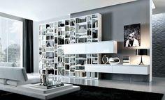 White Grey Contemporary Living Room with Unique Bookshelf