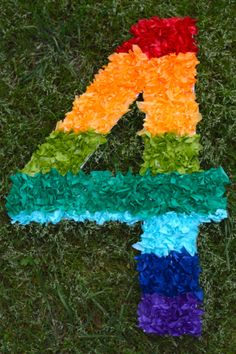 diy tissue paper number, great for rainbow birthday party