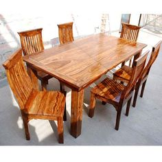 Celebrate the natural beauty of wood grain with a smart ergonomic design with the Idaho Modern Rustic Solid Wood Dining Table & Chair Set. Dining Table Chairs, Dining Room, Modern Rustic Dining Table, Idaho, Solid Wood, Furniture, Design, Home Decor, Decoration Home