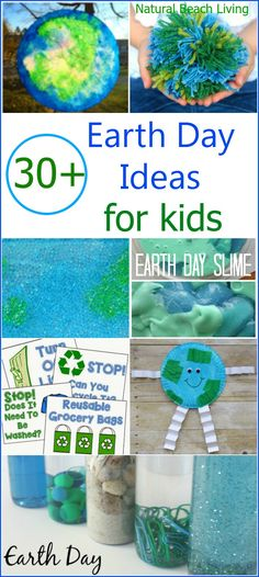 30 Earth Day Ideas for Kids Sensory Play Free Printables Earth Arts Crafts Nature Inspired Activities Reduce Recycle and Reuse for the environment Earth Day Activities, Spring Activities, Science Activities, Recycling Activities For Kids, Earth Day Kindergarten Activities, Science Crafts, Earth Day Projects, Earth Day Crafts, Nature Crafts