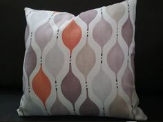 geometric pillow cover - orange lilac beige grey white pillow - mauve tangerine cushion - warwick charlotte fabric - tangerine mauve pillow