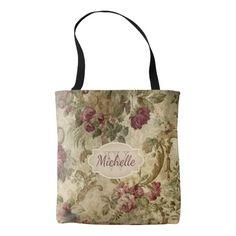 Vintage Floral Wine Rose Monogram & Name Tote Bag