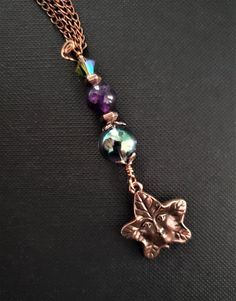 Silver Tone Triquetra Heart  Earrings Amethyst Gemstone Beads Pagan