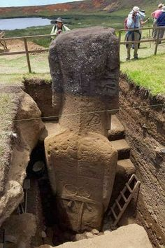 Easter Island's Statues Reveal Bodies Covered With Unknown Ancient Petroglyphs... in October 2011, when the Easter Island Statue Project began its Season V expedition, scientists could reveal remarkable photos showing that the bodies of the statues go far deeper underground than just about anyone had imagined...